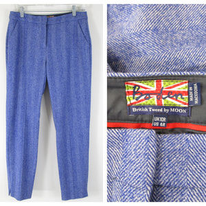 Boden British Tweed By Moon Blue Wool Trousers 6R